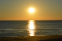 Golden sunset by the sea in Blackpool Stock Image