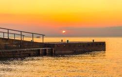 Golden sunset on the sea Stock Photo