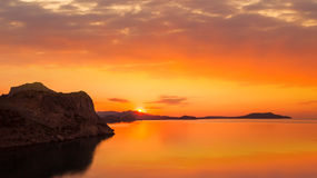 Golden sunset on the sea Royalty Free Stock Photo
