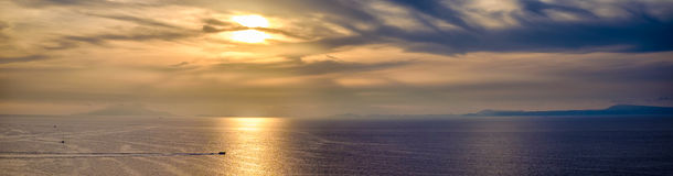 Golden sunset on the sea of the Gulf of Sorrento. Campania, Italy Royalty Free Stock Images
