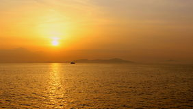 Golden Sunset. And sea view Royalty Free Stock Photos