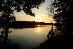 Golden sunset or sunrise with tree silhouettes over a forest lake royalty free stock images