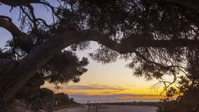 Golden sunset timelapse on Cottesloe beach, Perth, Western Australia stock video footage