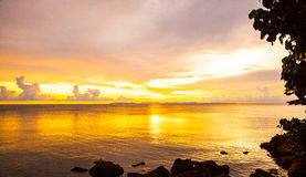 Golden sunset at Trad Thailand Stock Images