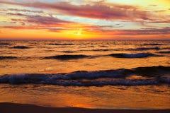 Golden Sunset on Lake Michigan. Michigan USA Stock Image