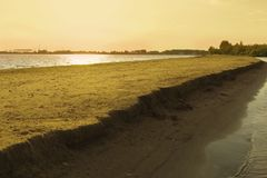 Sandy island on the Volga river. stock photography