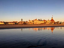 Golden sunset warms up the historic Hotel Del Coronado in California Royalty Free Stock Images