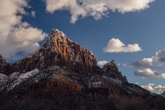 Golden Sunset on The Watchman in Zion. The last golden light of the day hit The Watchman tower in Zion National Park, Utah Royalty Free Stock Images