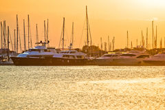 Golden sunset at yacht club Stock Images