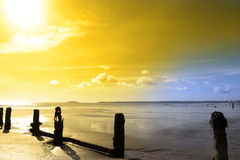 Golden sunshine over the Irish coast Royalty Free Stock Image