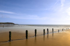 Golden sunshine over the Youghal coast Stock Photos