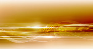 Golden super hi-tech background. Gold vivid yellow motion flows and lights in many directions. Great hi-tech background for you Stock Photos