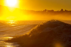 Golden surf. At sunrise in Kaikoura, New Zealand at Kahutara surf spot Royalty Free Stock Photo