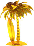 Golden surfboard palm tree and island Royalty Free Stock Photography
