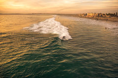 Golden surfing. A surfer on the waves and the sunset shinning water royalty free stock photo