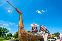 Golden Swan Boat and Temple with Blue Sky Royalty Free Stock Photo