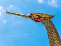 Golden Swan Boat and Temple with Blue Sky. Wat Cha Lor, Nonthaburi, Thailand Royalty Free Stock Photos