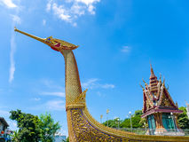 Golden Swan Boat and Temple with Blue Sky Royalty Free Stock Images
