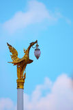 Golden swan lamp on electricity in Temple of the Emerald Buddha Stock Image