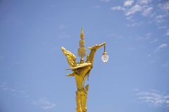 Golden swan lighting lamp in Thailand. Royalty Free Stock Photos