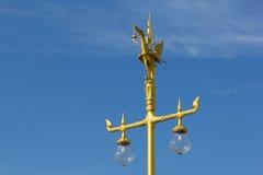 Golden swan post lamp Royalty Free Stock Image