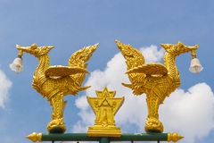 Golden swan in thai style street lamps Royalty Free Stock Photography