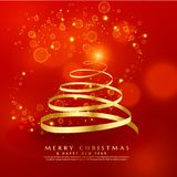 Golden swirl christmas tree design with sparkles Royalty Free Stock Photo