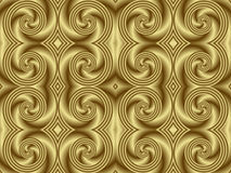 Golden Swirl Seamless Tile. Illustration of seamless tile in smooth monochromatic gold Royalty Free Stock Photo