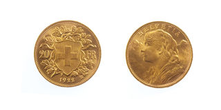 Golden Swiss Franc Helvetia Royalty Free Stock Photo