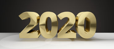 2020 golden sylvester new year 2020 3d render. Graphic Stock Photos