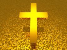 Golden symbol - christian cross Royalty Free Stock Photo