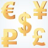 Golden symbol of currency Stock Photography