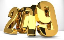 2019 golden symbol 3d. Render Stock Image