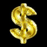 Golden symbol dollar made of inflatable balloon isolated on black background. 3d rendering Royalty Free Stock Photography