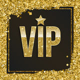 Golden symbol of exclusivity, the label VIP with glitter. Stock Photo