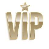 Golden symbol of exclusivity, the label VIP with glitter. Stock Image