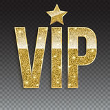 Golden symbol of exclusivity, the label VIP with glitter. Royalty Free Stock Images