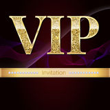 Golden symbol of exclusivity, the label VIP with glitter. Very important person - VIP invitation on elite abstract a royalty free illustration