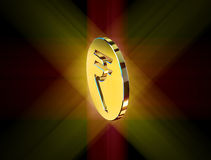 Golden symbol of the Indian rupee Royalty Free Stock Photo