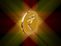 Golden symbol of the Indian rupee Royalty Free Stock Image