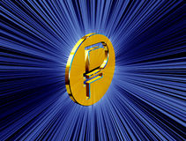 Golden symbol of the ruble Stock Images