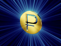 Golden symbol of the ruble Stock Image