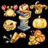 Golden symbols of animal world and holidays Royalty Free Stock Photo