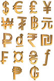 Golden symbols currencies of the world Royalty Free Stock Photo