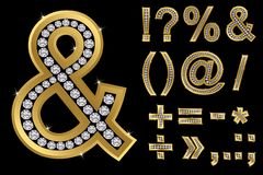 Golden symbols with diamonds, vector. Illustration vector illustration