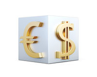 Golden symbols of Euro and dollar on the cube. 3d rendering Royalty Free Stock Photography