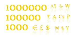 Golden symbols money Stock Photo
