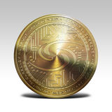 Golden syscoin coin isolated on white background 3d rendering. Illustration Royalty Free Stock Photo