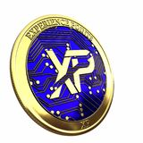 Golden T cryptocurrency coin. stock images