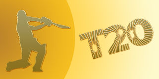 Golden T20 Cricket Banner On Gold Royalty Free Stock Photography